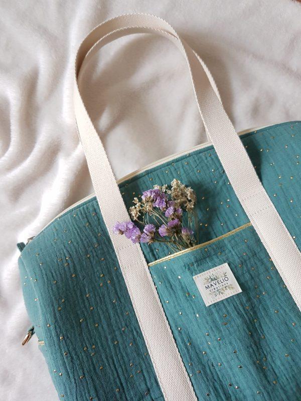 sac à langer double gaze vert