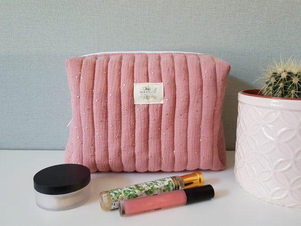 Trousse de toilette coton rose