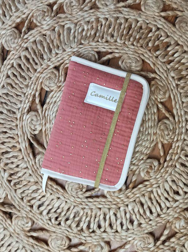 protège carnet de santé double gaze coton marsala