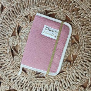 protège carnet de santé double gaze coton rose