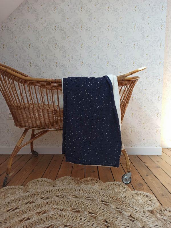 couverture bébé double gaze de coton bleu